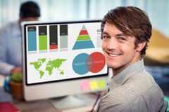 Composite image of digitally generated image of business presentation with charts and map. Digitally generated image of business presentation with charts and map stock image