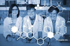Composite image of digitally generated image of chemical structure Stock Photography