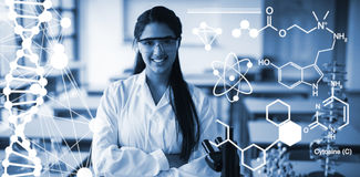 Composite image of digitally generated image of chemical structure. Digitally generated image of chemical structure against portrait of schoolgirl in lab coat Stock Photography