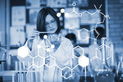 Composite image of digitally generated image of chemical structure. Digitally generated image of chemical structure against school girl experimenting with Stock Photo