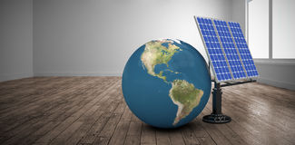 Composite image of digitally generated image of 3d globe and solar equipment Royalty Free Stock Photos
