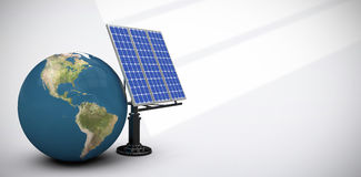 Composite image of digitally generated image of 3d globe and solar equipment Royalty Free Stock Image