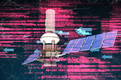 Composite image of digitally generated image of 3d modern solar satellite. Digitally generated image of 3d modern solar satellite against shiny arrows on Royalty Free Stock Photography