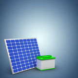 Composite image of digitally generated image of 3d solar panel with battery. Digitally generated image of 3d solar panel with battery against purple vignette Royalty Free Stock Photography