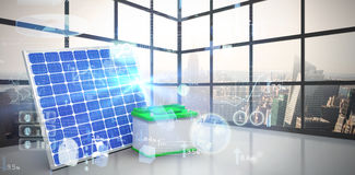 Composite image of digitally generated image of 3d solar panel with battery. Digitally generated image of 3d solar panel with battery against room with large Royalty Free Stock Photos