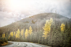 Composite image of digitally generated image of dark storm clouds. Digitally generated image of dark storm clouds  against road by autumn trees Stock Photography