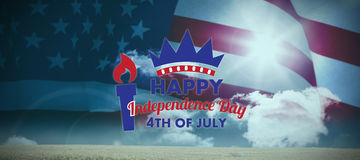 Composite image of digitally generated image of happy independence day text Stock Image