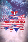 Composite image of digitally generated image of happy independence day text with decoration. Digitally generated image of Happy independence day text with Stock Photo