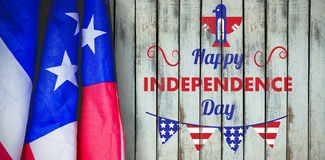 Composite image of digitally generated image of happy independence day text with decoration. Digitally generated image of Happy independence day text with Stock Image