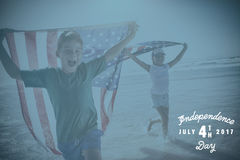 Composite image of digitally generated image of happy 4th of july message Royalty Free Stock Photo