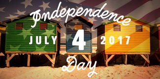Composite image of digitally generated image of happy 4th of july message Stock Image