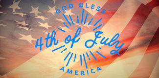 Composite image of digitally generated image of happy 4th of july message Royalty Free Stock Photography