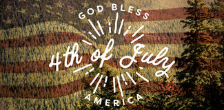 Composite image of digitally generated image of happy 4th of july message. Digitally generated image of happy 4th of july message against scenic view of forest Stock Photo