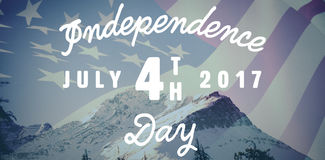 Composite image of digitally generated image of happy 4th of july message. Digitally generated image of happy 4th of july message against scenic view of snow Royalty Free Stock Images