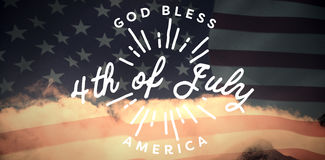 Composite image of digitally generated image of happy 4th of july message. Digitally generated image of happy 4th of july message against united states of Royalty Free Stock Photo