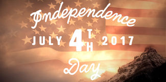 Composite image of digitally generated image of happy 4th of july message. Digitally generated image of happy 4th of july message against united states of Royalty Free Stock Image