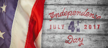 Composite image of digitally generated image of happy 4th of july message Royalty Free Stock Image