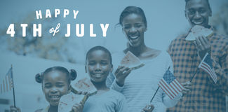 Composite image of digitally generated image of happy 4th of july text. Digitally generated image of happy 4th of july text against happy family eating Vector Illustration