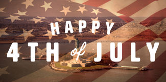 Composite image of digitally generated image of happy 4th of july text. Digitally generated image of happy 4th of july text against high angle view of statue of stock illustration