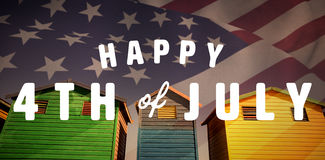 Composite image of digitally generated image of happy 4th of july text Stock Photos