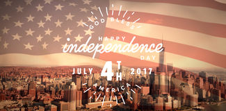 Composite image of digitally generated image of happy 4th of july text. Digitally generated image of happy 4th of july text against one world trade center in Royalty Free Illustration