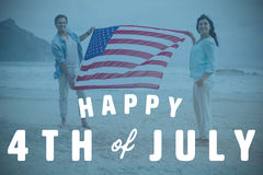 Composite image of digitally generated image of happy 4th of july text Stock Photo