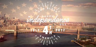 Composite image of digitally generated image of happy 4th of july text. Digitally generated image of happy 4th of july text against united states of america flag vector illustration