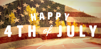 Composite image of digitally generated image of happy 4th of july text Royalty Free Stock Image