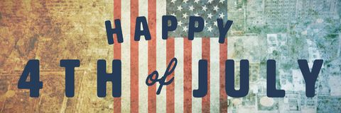 Composite image of digitally generated image of happy 4th of july text. Digitally generated image of happy 4th of july text against new york Vector Illustration