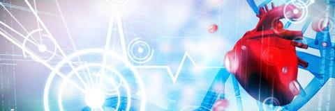 Composite image of digitally generated image of a heart. Digitally generated image of a heart against blue chromosomes on blue background Stock Image