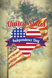Composite image of digitally generated image of heart shape with independence day text Stock Image