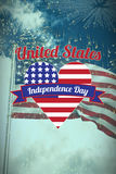 Composite image of digitally generated image of heart shape with independence day text. Digitally generated image of heart shape with Independence Day text Royalty Free Stock Photo