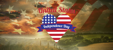 Composite image of digitally generated image of heart shape with independence day text. Digitally generated image of heart shape with Independence Day text Stock Photography