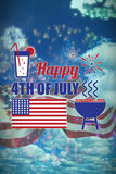 Composite image of digitally generated image of independence day decoration with text. Digitally generated image of Independence day decoration with text Stock Photography