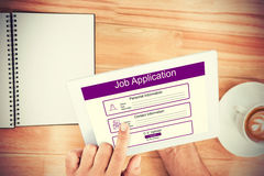 Composite image of digitally generated image of job application. Digitally generated image of Job Application  against hands holding blank screen tablet Royalty Free Stock Images
