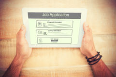 Composite image of digitally generated image of job application. Digitally generated image of Job Application  against hands holding blank screen tablet Stock Images