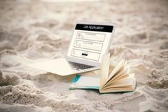 Composite image of digitally generated image of job application. Digitally generated image of Job Application  against open book and laptop on sand at beach Royalty Free Stock Photos