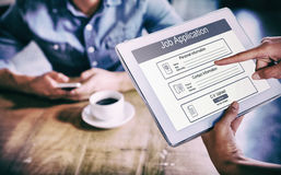 Composite image of digitally generated image of job application. Digitally generated image of Job Application against person using tablet computer in cafe stock images