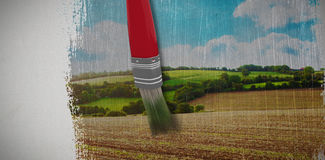 Composite image of digitally generated image of red paintbrush Royalty Free Stock Images