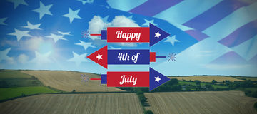 Composite image of digitally generated image of rockets with happy 4th of july text. Digitally generated image of rockets with happy 4th of july text against Stock Illustration
