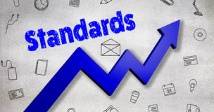 Composite image of digitally generated image of standards text. Digitally generated image of standards text against black wall royalty free illustration