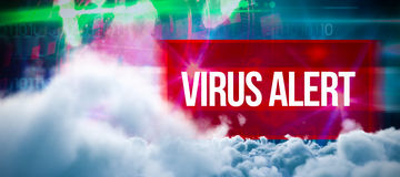 Composite image of digitally generated image of storm clouds. Digitally generated image of storm clouds  against virus alert against blue technology design with Stock Photos