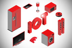 Composite image of digitally generated image of text and appliances icons 3d Stock Images