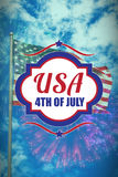 Composite image of digitally generated image of 4th of july text. Digitally generated image of 4th of july text against colourful fireworks exploding on black royalty free illustration