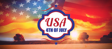 Composite image of digitally generated image of 4th of july text. Digitally generated image of 4th of july text  against countryside scene Royalty Free Illustration