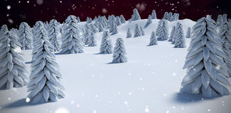Composite image of digitally generated image of trees on snowcapped mountain. Digitally generated image of trees on snowcapped mountain against outer space Stock Photo