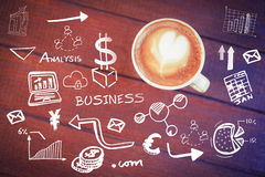 Composite image of digitally generated image of various business icons Stock Image