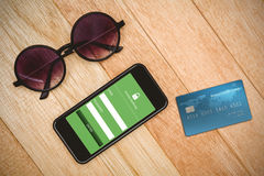 Composite image of digitally generated image of world credit card Stock Photos