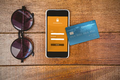 Composite image of digitally generated image of world credit card Royalty Free Stock Image