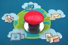 Composite image of digitally generated red push button Royalty Free Stock Photos